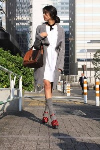 "Aquascutum Shirt Dress, Fendi Bag, Max Mara Socks //""Up to the collar"" by Denni . // LOOKBOOK.nu"