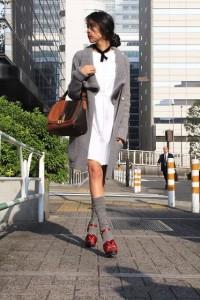 """Aquascutum Shirt Dress, Fendi Bag, Max Mara Socks //""""Up to the collar"""" by Denni . // LOOKBOOK.nu"""
