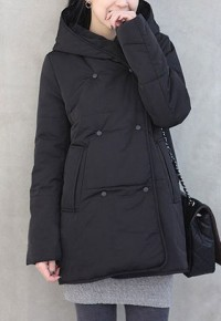 shego shopping mall — [grzxy6601147]Black Warmer Padded Jacket Long Thick Hooded Coat Overcoat