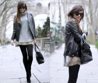 "Zara Skirt, H&M Leather Jacket //""BRYANT PARK"" by Andy T. // LOOKBOOK.nu"