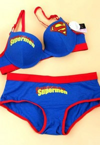 shego shopping mall — [grzxy6601199]Stylish Unique Superman Print Contrast Color Plunge Push-up Bra Panty Set