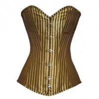CB-098 - Brown and Gold Striped Pattern Long Line Corset