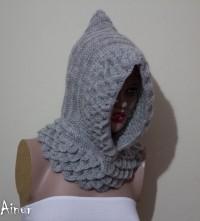 Gray Crocodile Hooded cowl Hooded Cowl Knit Hood by Ainurcrochet