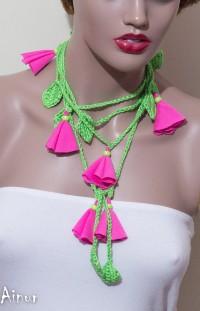 Green leaf Pink Flower Hand Crochet Lariat Scarf by Ainurcrochet