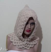 Beige Crocodile Hooded cowl Hooded Cowl Knit Hood by Ainurcrochet
