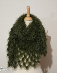 Green army Warm Soft Multi Way LuxuryTriangle by Ainurcrochet