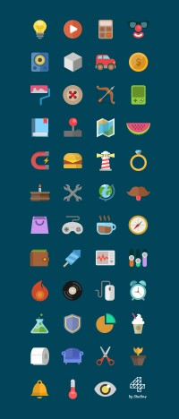 Colorful Flat Icons | GraphicBurger
