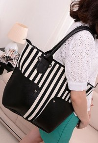 shego shopping mall — [grzxy62000271]Vertical Stripes Splicing Large Size Shoulder Bag Handbag Purse