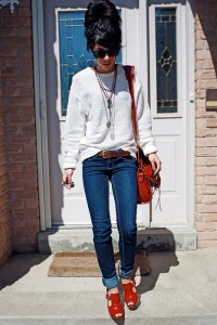 "Navy Garage Jeans, Red J Lo Heels, Eggshell American Apparel Jumpers | ""You and Me "" by badley - Chictopia"