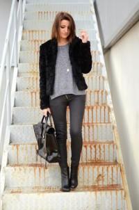 "H&M Furry Coat, H&M Sweater, Pull&Bear Pants, 3.1 Phillip Lim Bag //""Black furry"" by Alexandra Per // LOOKBOOK.nu"
