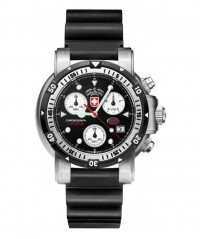 CX SWISS MILITARY DIVERS SW1 SCUBA WATCH ETA CHRONO 1000m/3300ft WR BLACK - DIVER'S SW 1 SCUBA - CX SWISS MILITARY