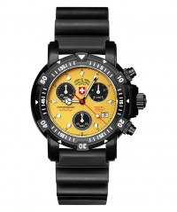 CX SWISS MILITARY DIVERS SW1 SCUBA NERO WATCH ETA CHRONO 1000m/3300ft WR YELLOW - DIVER'S SW 1 SCUBA NERO - CX SWISS MILITARY