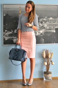 "Light Pink Pencil Skirt OMG Fashion Skirts, Silver Cropped OMG Fashion Sweaters | ""BLUSH"" by Cocobolinho 