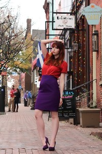 "Red Button Down Thrifted Tops, Purple Pencil Skirt Thrifted Skirts | ""Now my life is sweet like cinnamon"" by Arimoi 