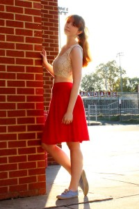 "Red Thrifted Skirts, Ivory Lace Vintage Tops, Light Blue Keds Sneakers | ""Another day, just believe"" by Arimoi 