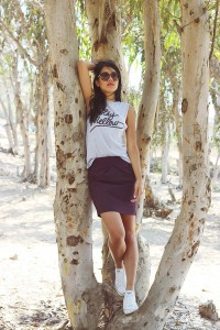 "Purple Pencil H&M Skirts, White Converse Shoes, Silver Mellow Orange Ts, Shirts | ""Stay Mellow"" by simplynewtral 