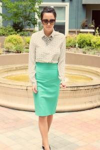 "Pencil Skirt Zara Skirts, Gucci Sunglasses, JCrew Necklaces | ""polka dots + diamonds"" by BexBites 