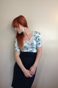 "Navy Pencil Thrifted Skirts, Floral Rue21 Shirts | ""Spring is in the air."" by yvonnenickole 