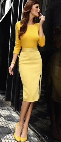 yellow on yellow pencil skirt classy | My Style | Pinterest