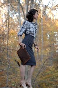 Pretty Birdie's Natural Hemp Linen High Waist Pencil Skirt