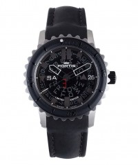 FORTIS B-47 BIG STEEL AUTO WR 200M LTD EDN BLACK LEATHER STRAP 675.10.81 L01 - FORTIS