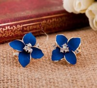 shego shopping mall — [Grlhx130018] Cute Four Leaves Rhinestone Earrings