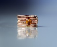 Stackable birthstone rings - Citrine - November birthstone - rose gold filled