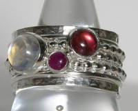 Pink Tourmaline Ruby Rainbow Moonstone Birthstone Mothers Rings