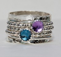 Birthstone Rings Set Rose Cut London Blue Topaz Amethyst February Birthstone Ring, Stackable Rings