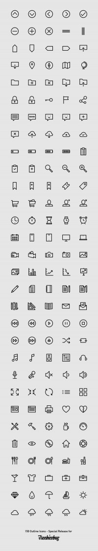 150 Outlined Icons – PSD/AI/SVG/Webfont - FreebiesXpress