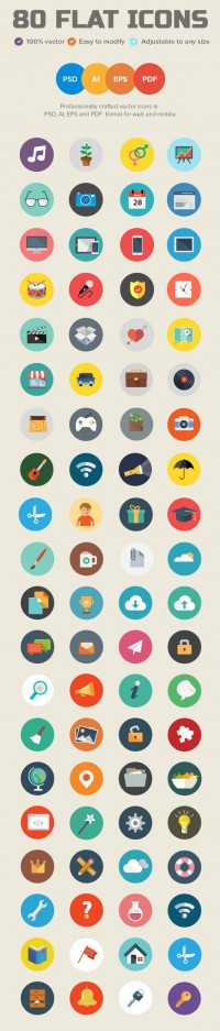 80 Flat Icons for Web & Mobile UI | Icons | Design Blog