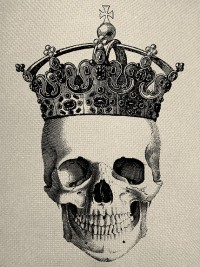 Skull With Crown Engraving Digital Collage Graphic Fabric Transfer To…