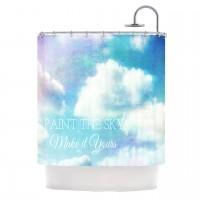 """Alison Coxon """"Paint the Sky!"""" Blue White Shower Curtain   KESS InHouse"""