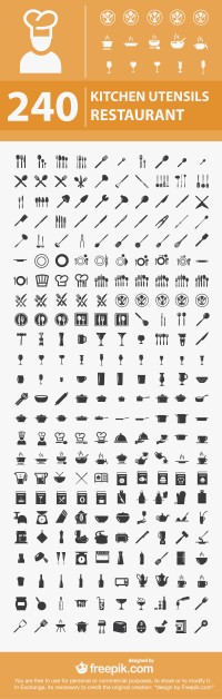 240 Free Kitchen / Restaurant Icons | eWebDesign