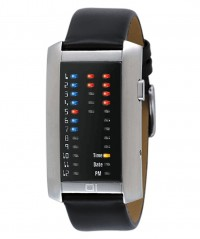 01 THE ONE IBIZA RIDE LED BINARY WATCH IR702RB1 TIME/DATE SS CASE LEATHER STRAP - IBIZA RIDE - THE ONE 01