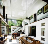 Sun House in Singapore (Photo 13) Double Height Living Room with Contemporary Interior Design