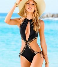 Black bikini leopard grain / fashion