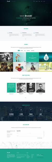 Brandi – Creative One Page Multi-Purpose PSD Template - FreebiesXpress