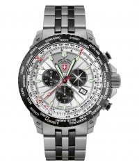 CX SWISS MILITARY HURRICANE WORLDTIMER WATCH TIMEZONE & SLIDERULE BEZEL SILVER - HURRICANE WORLDTIMER - CX SWISS MILITARY