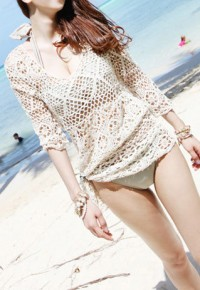 shego shopping mall — [grzxy6601517]Half Sleeve Fishnet Crochet Knit Blouse Beach Cover Up Swimwear