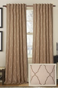 Alani Embroidered Burlap Curtain Panel - Burlap Curtain Panels - Embroidered Curtains - Drapery Panels | HomeDecorators.com