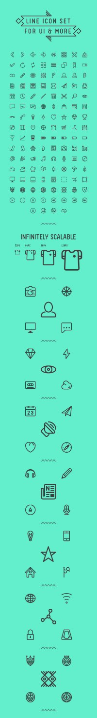 Line Icon Set For UI & More - FreebiesXpress