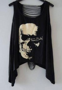shego shopping mall — [grzxy6601560]Sexy Black Tassels Skull Head T Shirt Tank Top