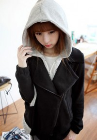 shego shopping mall — [grzxy6601561]Contrast Color Casual Warm Hoodie Sweatshirt Jacket Coat