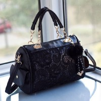 shego shopping mall — [grzxy62000356]Black Lace Metallic Double Handle Tote Handbag Shoulder Bag