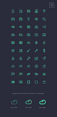 Stroke Gap Icons Set Vol.1 | GraphicBurger
