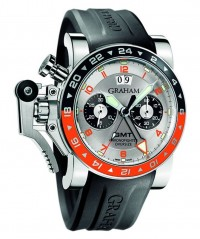 GRAHAM CHRONOFIGHTER OVERSIZE 'GMT TIMER SILVER' AUTO WR100M 2OVASGMT.S01A.K10B - GRAHAM