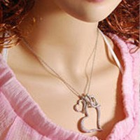 shego shopping mall — [grzxy61000031]Three Complex Frosted Love Heart Pendant Chain Necklace