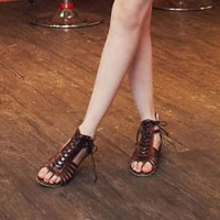 shego shopping mall — [grzxy61900357]Gladiator Lace Up Low Wedge Heel Peep Toe Sandal
