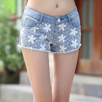 shego shopping mall — [grzxy6601619]Light Blue Flower Lace Slim Fit Denim Shorts Hot Pants